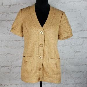 Anthropologie Tabitha Mustard Tweed Jacket size 8